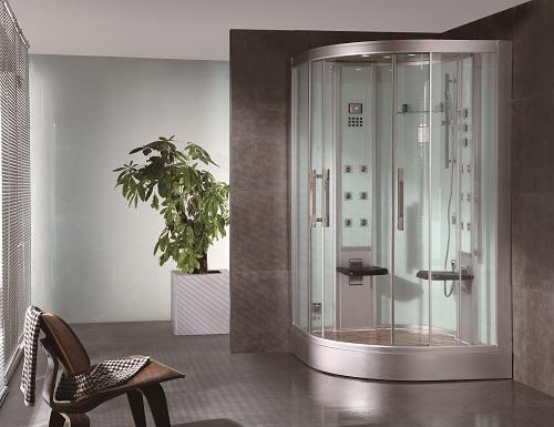 white glass ariel platinum steam shower